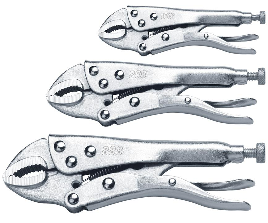 888 By SP Tools Plier Locking Curved Jaw 3Pcs Set Sparesbox - Image 1