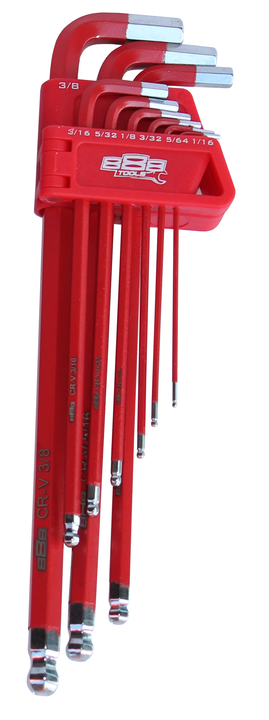 888 By SP Tools Key Set 9Pc SAE Ball Drive Hex (Red) Sparesbox - Image 1